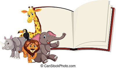 wilde dieren, boek, open, mal
