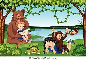 wilde dieren, kinderen, scène