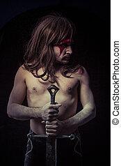 wilde, strijder, met, ijzer, zwaard