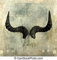 Wildebeest Horns. Photo based illustration.