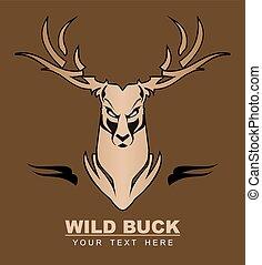 wilder bock, deer., stag., head.