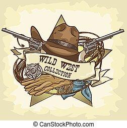 wilder westen, etikett