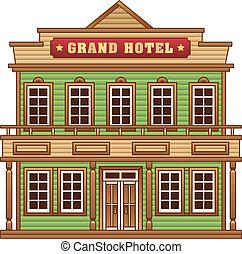 wilder westen, hotel, gebäude, großartig