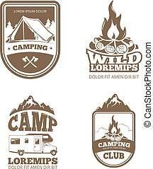 Wilderness and nature exploration vintage vector labels, emblems, logos, badges