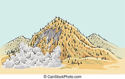 Wilderness Avalanche - A cartoon landslide on a small...