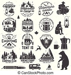 Wilderness camp. Be wild and free. Vector. Concept for badge, shirt or logo, print, stamp, patch or tee Vintage typography design with trailer, tent, campfire, bear, pocket knife and forest silhouette