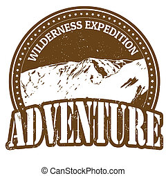 Wilderness expedition, adventure stamp