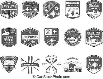 wilderness., extérieur, patrouille, snowboard, ensemble, logo, monochrome, insignes, design., montagne, hiver, vendange, voyage, hipster, dessiné, ski, insignia., explorateur, club, labels., main, aventure, symbole., icône, camp, vecteur