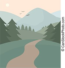 A landscape showing a trail into mountains and forests.