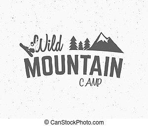 wildernis, snowboard, buiten, ontwerp, logo, berg, kamperen, ouderwetse , reizen, etiket, hipster, bos, getrokken, insignia., badge., ontdekkingsreiziger, symbool, hand, avontuur, monochrome., pictogram, kamp, vector