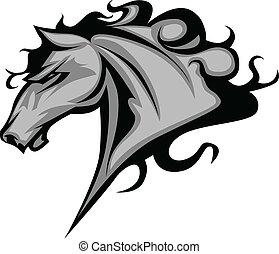 wildes pferd, hengst, oder, maskottchen