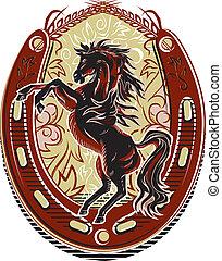 wildes pferd, wappen, westlich