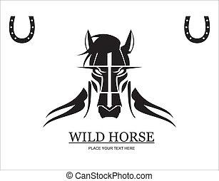 wildes pferd, zwischen, schwarz, pferdehufeisen