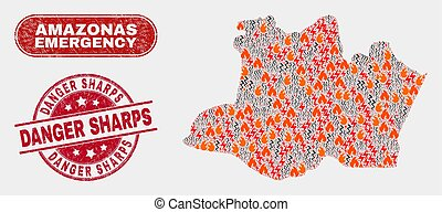 Wildfire and Emergency Collage of Amazonas State Map and Grunge Danger Sharps Stamp Seal