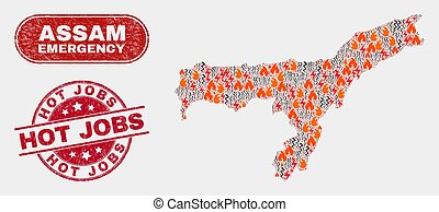 Wildfire and Emergency Collage of Assam State Map and Grunge Hot Jobs Stamp