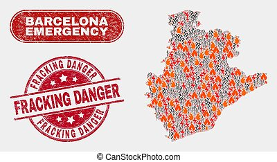 Wildfire and Emergency Collage of Barcelona Province Map and Distress Fracking Danger Seal