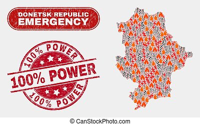 Wildfire and Emergency Collage of Donetsk Republic Map and Grunge 100% Power Stamp