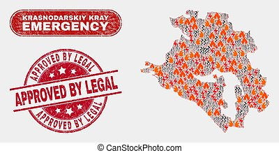 Wildfire and Emergency Collage of Krasnodarskiy Kray Map and Grunge Approved by Legal Stamp Seal
