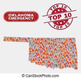 Wildfire and Emergency Collage of Oklahoma State Map and Grunge Top 10 Stamp Seal