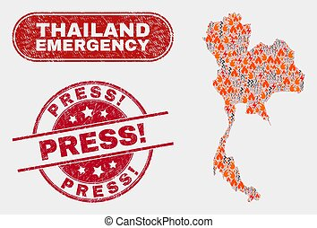 Wildfire and Emergency Collage of Thailand Map and Distress ...