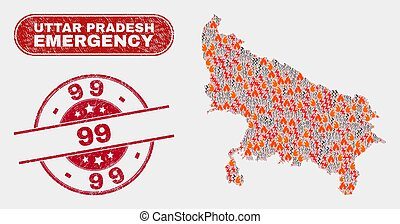 Wildfire and Emergency Collage of Uttar Pradesh State Map ...
