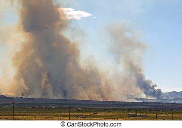 Wildfire Approaches - Wildfire with dark smoke burning near ...