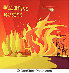 Wildfire Disaster Illustration - Color cartoon illustration...
