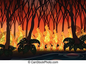 Wildfire Disaster in Big Forest illustration