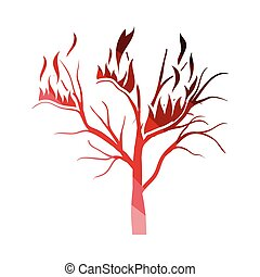 Wildfire icon. Flat color design. Vector illustration.