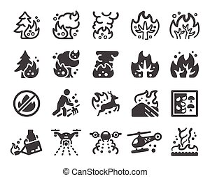 wildfire icon set - wildfire and fire disaster icon...