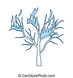 Wildfire Icon. Thin Line With Blue Fill Design. Vector ...
