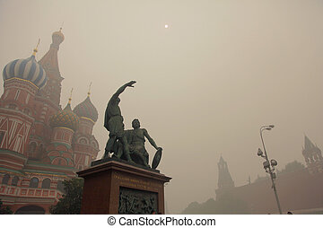 wildfire in Moscow, Russia, 07-AUG-2010, day of worst ecological situation in Moscow