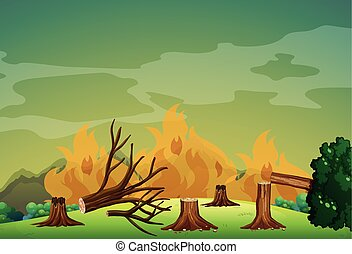 Wildfire in the forest illustration