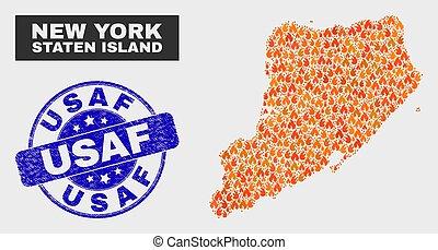 wildfire, kaart, grunge, postzegel, eiland, staten, usaf,...