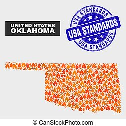 Wildfire Mosaic Oklahoma State Map and Distress USA Standards Stamp Seal