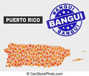 Wildfire Mosaic Puerto Rico Map and Scratched Bangui Seal