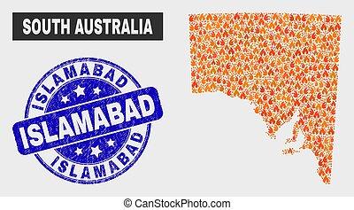Wildfire Mosaic South Australia Map and Grunge Islamabad...