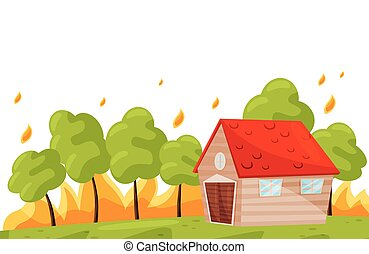 Wildfire near living house. Green trees in hot fire. Burning forest. Natural disaster. Flat vector design