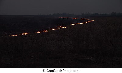 Wildfire occuring on a field - A shot of a wildfire...