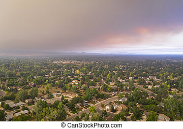 wildfire smoke from Cameron Peak Fire over Fort Collins in ...