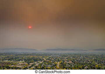wildfire smoke over Fort Collins, Colorado - smoke from ...