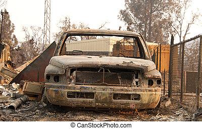 wildfire, voiture, ca, carbonisé, redding, firestorm, brûlé...