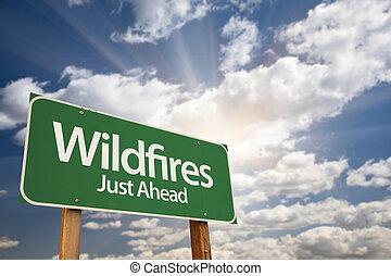 wildfires, vert, panneaux signalisations