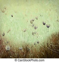 wildflower, afdrukken, op, antieke , papier