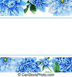 Wildflower blue dahila flower frame in a watercolor style isolated.