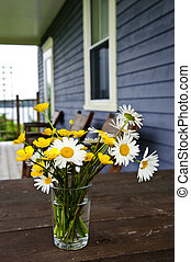 Wildflower bouquet at cottage - Bouquet of wildflowers on a...