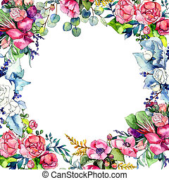 Wildflower bouquet frame in a watercolor style.