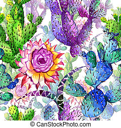 Wildflower cactus flower pattern in a watercolor style.