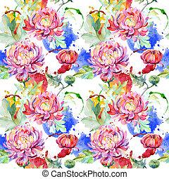 Wildflower chrysanthemum flower pattern in a watercolor style.