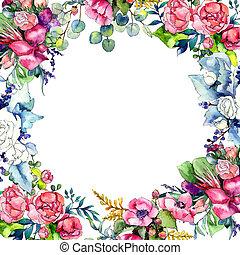 wildflower, csokor, keret, alatt, egy, vízfestmény, style.